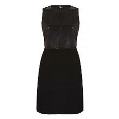 Iska - Black leather look fitted dress
