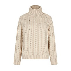Iska - Cream cable knit roll neck jumper