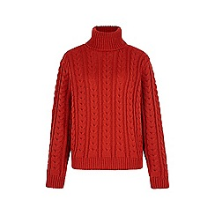 Iska - Red cable knit roll neck jumper