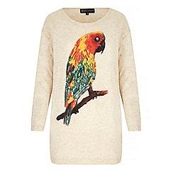 Iska - Cream Parrot Print Oversized Jumper