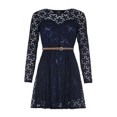 Iska - Navy Flower lace dress