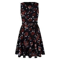 Iska - Black vintage floral print day dress