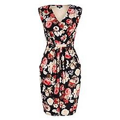 Iska - Black vintage floral print fitted dress