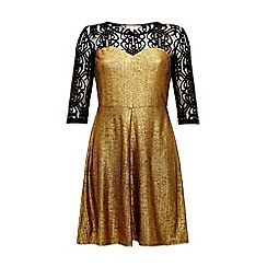 Yumi - Gold and lace sweetheart dress