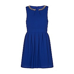 Iska - Blue embellished neck dress
