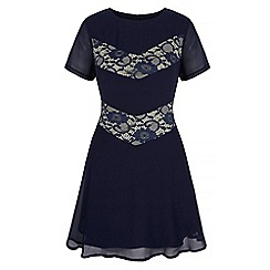 Iska - Blue lace insert dress