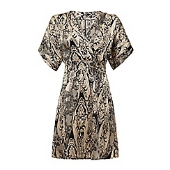 Iska - Cream lace print kimono wrap dress