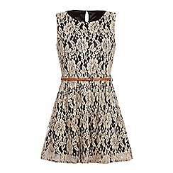 Iska - Sleeveless lace belted dress