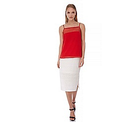 Yumi - Red Yumi by Lilah Circle Dobby Camisole Top