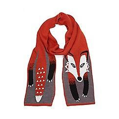 Yumi - Orange Fox Intarsia Scarf
