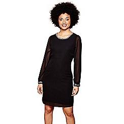 Yumi - Black jewelled 'Ayana' sheer sleeves mini tunic