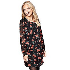 Yumi - Black floral print 'Indi' sheer sleeves tunic