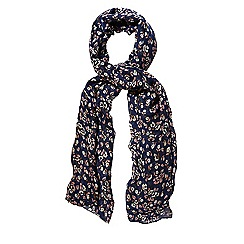 Yumi - Blue Printed Little Flower Scarf