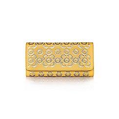 Yumi - Yellow Mettalic Flower Cut-Out Wallet