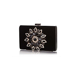 Yumi - Black Diamante Velvet Clutch Bag