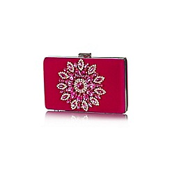 Yumi - Pink Diamante Velvet Clutch Bag