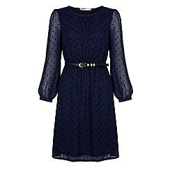 Uttam Boutique - Navy Flocked polka dot  dress