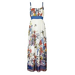 Uttam Boutique - Cream Butterfly print maxi dress