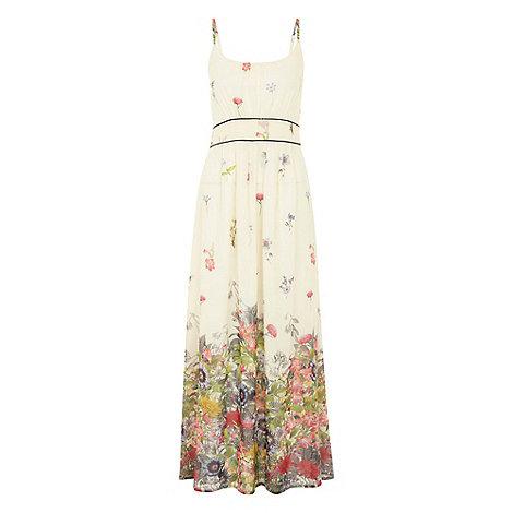 Uttam Boutique - Cream Flower border print maxi dress