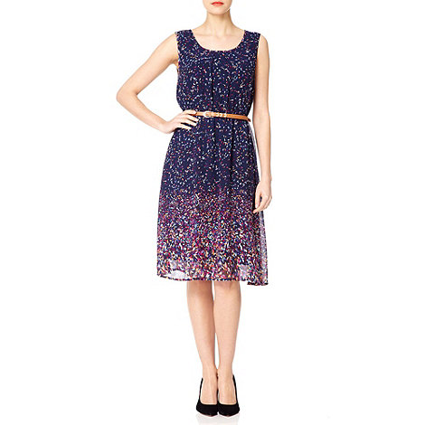 Uttam Boutique - Navy Mosaic print dress