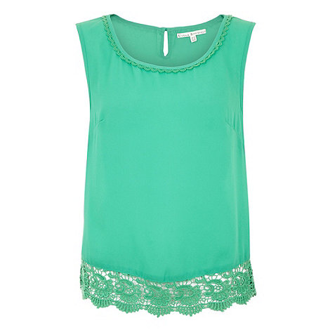 Uttam Boutique - Green Crochet vest top
