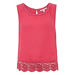 Uttam Boutique - Fuchsia Crochet vest top