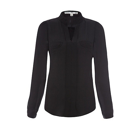 Uttam Boutique - Black Blouse with pockets