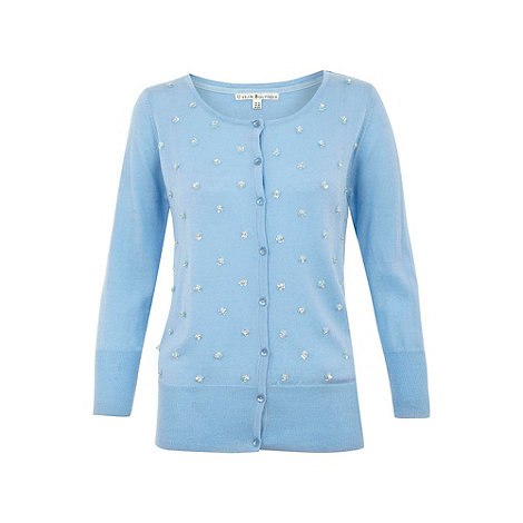 Uttam Boutique - Light blue Flower embellished cardigan