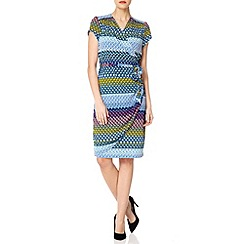 Uttam Boutique - Blue Mexicana geo print wrap dress