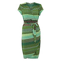 Uttam Boutique - Green Mexicana geo print wrap dress
