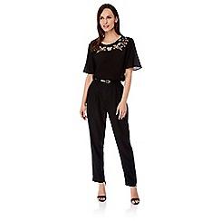 Uttam Boutique - Black Pleated Trousers