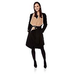 Uttam Boutique - Black contrast kimono coat