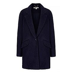 Uttam Boutique - Blue textured boyfriend coat