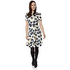 Uttam Boutique - Cream asakura floral print tea dress