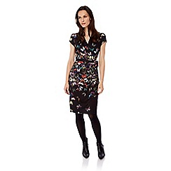 Uttam Boutique - Black butterfly print wrap dress