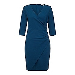 Uttam Boutique - Blue textured ponte gathered wrap dress