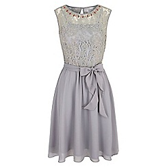 Uttam Boutique - Grey Embellished Lace Dress