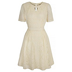 Uttam Boutique - Cream lace keyhole tea dress