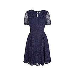 Uttam Boutique - Blue lace keyhole tea dress