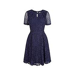 Uttam Boutique - Blue lace keyhole tea dress