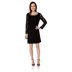 Uttam Boutique - Black Lace Embellished Long Sleeve Shift Dress