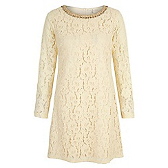 Uttam Boutique - Cream Lace Embellished Long Sleeve Shift Dress