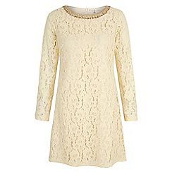 Uttam Boutique - Cream Lace Embellished Long Sleeve Shift Dress
