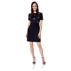 Uttam Boutique - Blue Floral Sequin Embellished Shift Dress