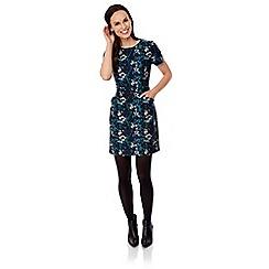 Uttam Boutique - Green midnight floral print shift dress