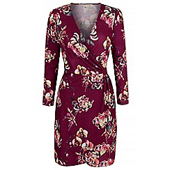 Uttam Boutique - Purple eastern floral print wrap dress