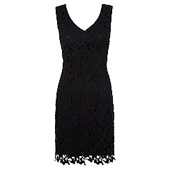 Uttam Boutique - Black crochet lace party dress