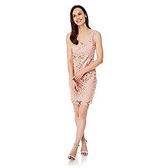 Uttam Boutique - Pink crochet lace party dress