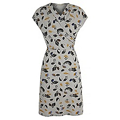 Uttam Boutique - Grey feather print jersey dress
