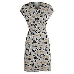 Uttam Boutique - Grey feather print jersey dress